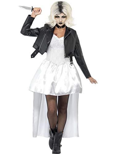 Halloweenia - Damen Frauen Kostüm Chuckys Horror Braut Kleid mit Jacke und Halsband, Zombie Bride, perfekt für Halloween Karneval und Fasching, M, Weiß