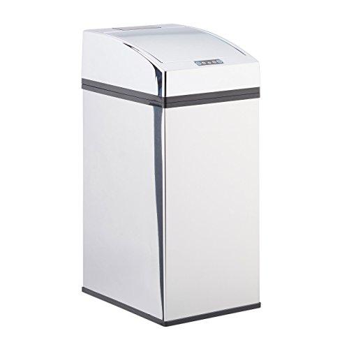 Relaxdays, Silber Sensor Mülleimer Edelstahl, mit Automatikdeckel, Inneneimer, hygienisch, 7 L, HxBxT: 35 x 15 x 20 cm, 7 Liter