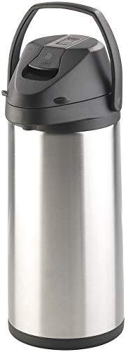 Rosenstein & Söhne Doppelwandige Vakuum-Isolierkanne mit Pumpsystem, Edelstahl, 5 Liter
