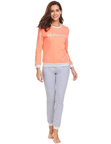ADOME Damen Zweiteiliger Schlafanzug Pyjama Set Nachtwäsche Hausanzug Freizeitanzug Lang, Rosa814, EU 38(Herstellergröße: - Langarm Thermo Nachthemd
