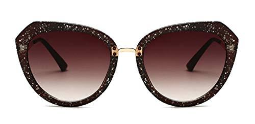 LKVNHP Mode Katzenaugen -Sonnenbrille Frauen Vintage -Sonnenbrillen weibliche Star Gradient Sunglass Retro Uv400 ShadesBrown