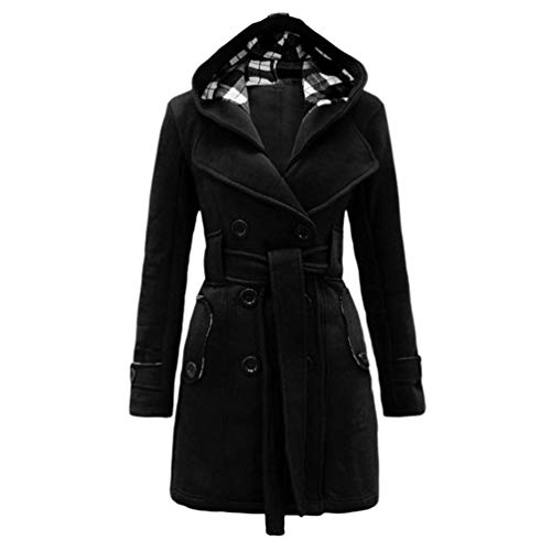 Baijiaye Long Manteau Laine a Capuche pour Femmes Hiver Cintrée Trench Coat avec Ceinture Duffle Coat Chic Parka Noir