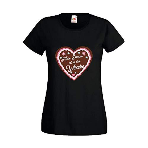 Oktoberfest T-Shirt für Damen mit Motiv -Mein Dirndl ist in der Wäsche- Frauen Tracht Schwarz - Damen Lebkuchen Mann Kostüm