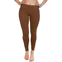 Las mujeres impresión con aspecto mojado liso & Diferente Leggings tamaño S, M, L, XL Rojo Plain - Rust Large
