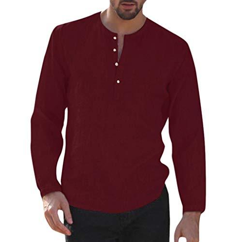 Junkie-fit-jeans (UINGKID Herren T-Shirt Kurzarm Slim fit Baggy Cotton Linen Solid Dreiviertel-Knopf Tasche Retro Shirts Tops)
