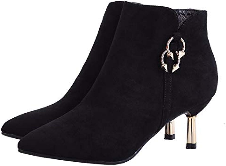 KPHY Chaussures Femmes/Tête Pointue Martin Bottes avec Talon Haut 6 Très Cm Métal Très 6 Court en Daim Noir des Bottes...B07KGC6F1SParent 3f9369