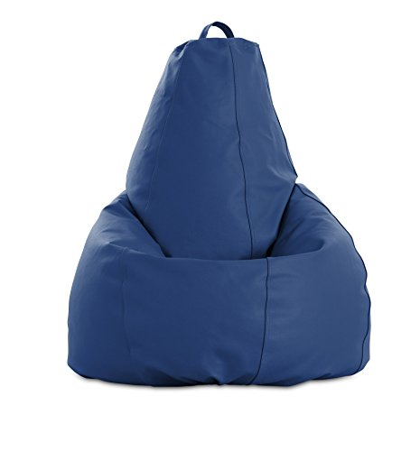 Textil-home Sitzsack mit hoher Rückenlehne formbar - 80x80x130 cm - LEDERGEWEBE. Farbe Blau - hoher Widerstand - Doppelter Rückprall - (Inklusive Polystyrolkugeln Füllung) -