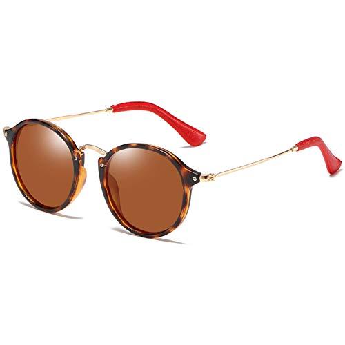 YHgiway Damen Sonnenbrille Polarisierte Retro Herren Rund Fahrenbrille UV 400 Schutz mit TR90-Rahmen Bügel Edelstahl und Enden aus Roten PU für Angeln Freizeit,Tortoiseshell/AmberLens
