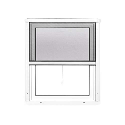 jarolift 4 in 1 Zanzara Insektenschutzrollo Insektenschutz Fenster Alurahmen, 130 x 160 cm (B x H), weiß
