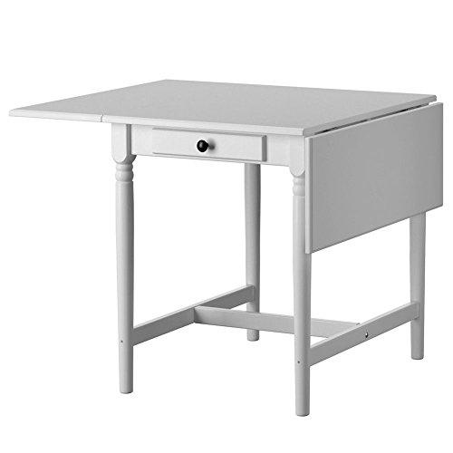 Bakaji tavolo allungabile con ali ribalte e cassetto in legno bianco 59/88/117 x 78 cm, tavolo bianco con ribalte e gambe tornite