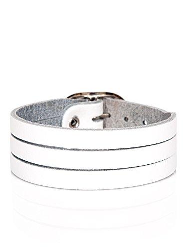 Lederarmband Herren Leder Armband Herrenarmband echtes Leder Wickelarmband Surfer Style weiß größenverstellbar