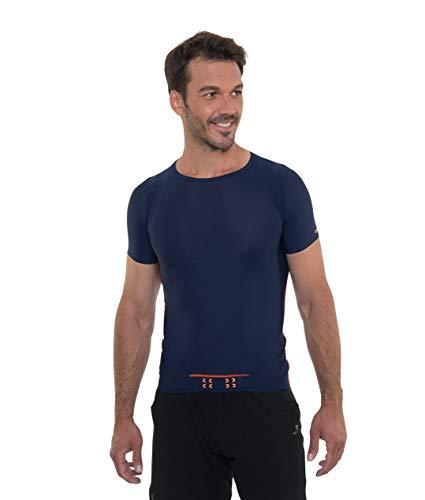 percko T-shirt de course à manches Lyne Fit Bleu-Le T-shirt pour votre dos, bleu, L