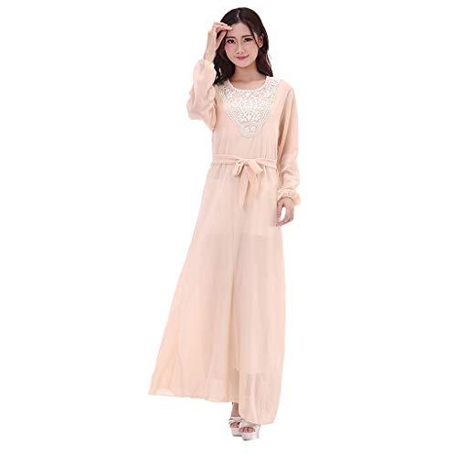 TEBAISE Damen Chiffon Muslimische Islamischen Indische Langarm Kleid Elegant Stickerei Knöchellang Kleid Tunika Abaya Dubai Kleider Abendkleid Hochzeit Kaftan Robe Frauen Maxikleid Gewand Kleidung