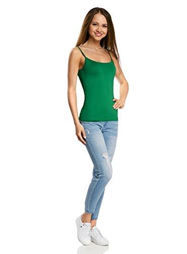 oodji Ultra Femme Débardeur Basique à Fines Bretelles Vert (6D00N)