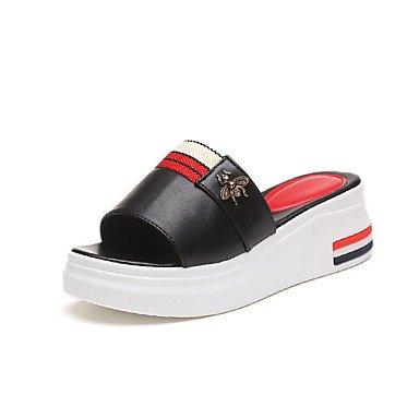 RTRY Donna Pantofole E Flip-Flops Sandali Comfort Similpelle Estate Outdoor Abbigliamento Sportivo A Piedi Tacco A Cuneo Bianco Nero 1A-1 3/4In US6 / EU36 / UK4 / CN36