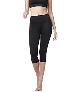 Lapasa Donna Capri Leggings 3/4 Allenamento Opaco Yoga Fitness Spandex Palestra Pantaloni (s-small, Nero)