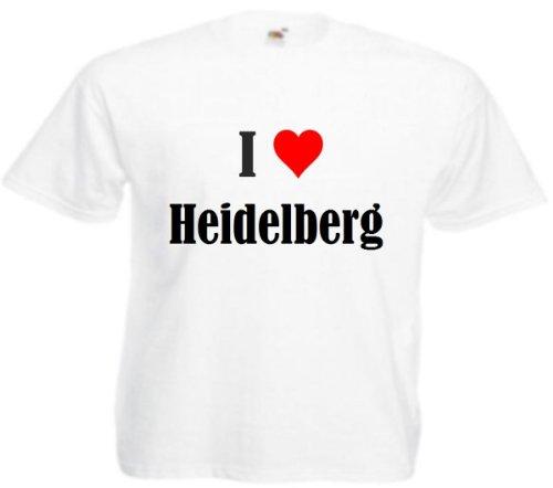 """T-Shirt """"I Love Heidelberg"""" für Damen Herren und Kinder in Weiß Weiß"""