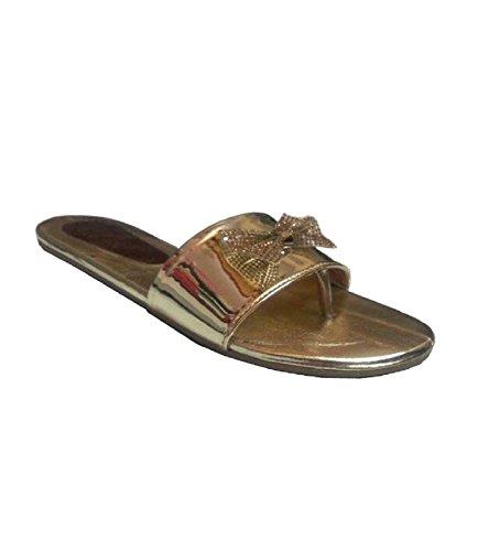 Ala Mode 558. Leather Hukum Flat Tpr Slipper Tie Gold 37 For Women