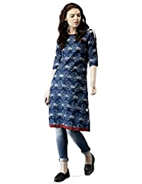 AnjuShree Choice Women Stitched Printed Straight Cotton Kurti Kurta