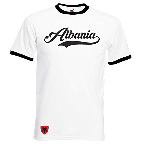 Albanien - Ringer Retro TS - Weiss - EM 2016 T-Shirt Trikot Look - (L)