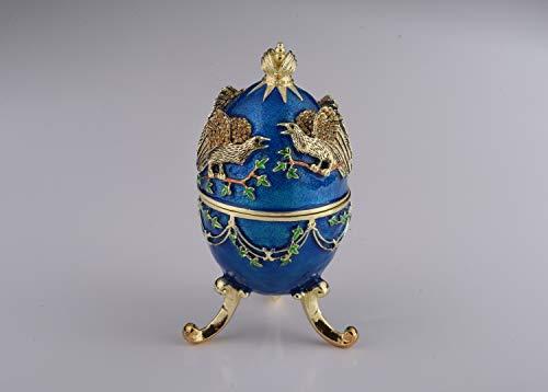 Keren kopal blu russo uovo con aquila, portagioie, uovo fabergé decorato con cristalli swarovski, uova di pasqua