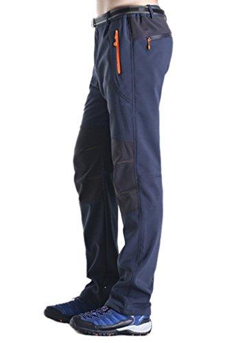 Geval Pantalon coupe-vent Softshell molleton neige ski Hommes randonnée pantalon en plein air Bleu foncé