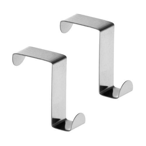 Premier Housewares 509693 - Set de 2 colgadores de puerta reversibles, acero inoxidable