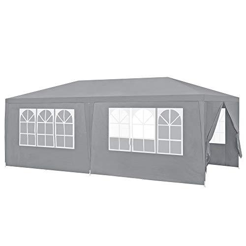 [casa.pro]®] gazebo da giardino 600 x 300 x 255 cm tenda da giardino struttura in acciaio pieghevole impermeabile grigio scuro