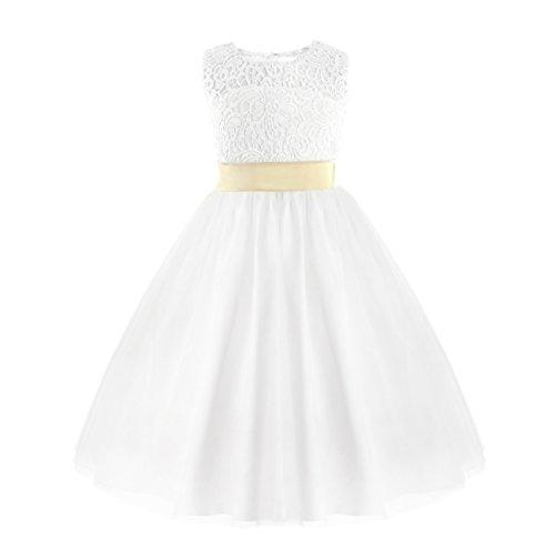 iiniim Mädchen Kinder Kleid Blumenmädchen Kleid Brautjungfern Hochzeitskleid Festlich Festzug Kleid Partykleid Weiß 140/10 Jahre