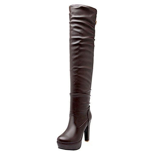 ENMAYER Women Sexy Party Synthetic Solid Round Toe High Heel Platform Over the Knee Boots