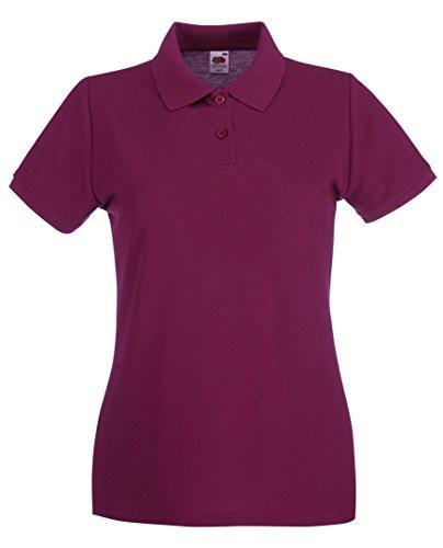 Fruit of the Loom, Damen-Kurzarm-Polo-Shirt, Weiß, Größe M Gr. M, burgunderfarben -