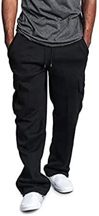 Pantaloni Cargo Uomo,Momoxi Pantaloni Lunghi Autunno e Primavera Uomo con Coulisse Laterali Trousers della di Hip Hop Pantaloni Sportivi Multi-Tasca Neri da Uomo Casual Street Ragazzi Pantaloni