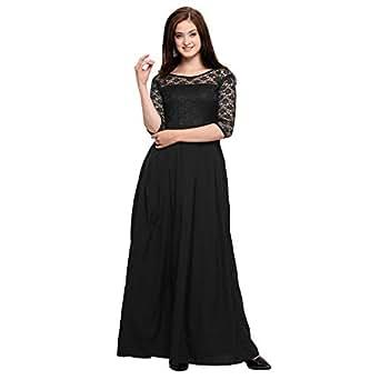 Fashion2wear Women's Crepe Gown(42-145-$pa, Black, Small)