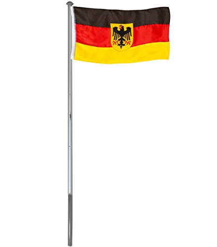 fahnenmast 3m Brubaker Aluminium Fahnenmast Flaggenmast 6 m inklusive Deutschland Flagge + Deutschland Flagge mit Adler 150 x 90 cm und Bodenhülse