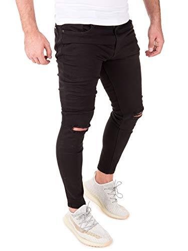 PITTMAN Vaqueros para Hombre Jeans Pantalones Straight Ragner Jean Hombres Slim fit Skinny, Negro (Black 194004), W38/L32