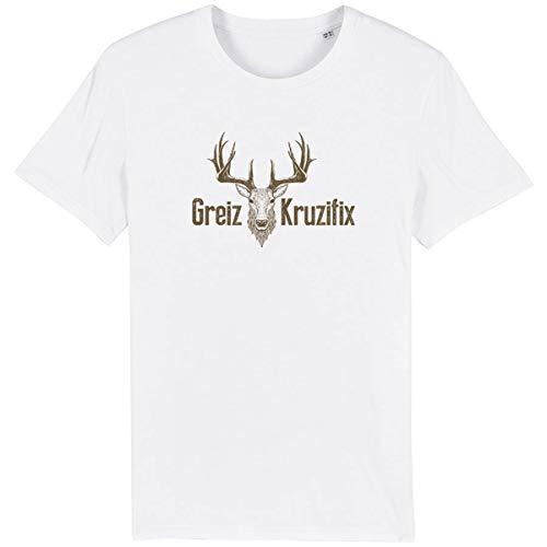 Trachten T-Shirt Greiz Kruzifix Bio Baumwolle S-3XL Trachtenshirt Oktoberfest Bayrisch Wiesn Lederhosen Männer Herren Hirsch Österreich (Weiss-Braun, XXS)