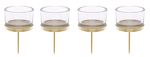 Glorex GmbH 6 7021 002 Kerzenhalter mit Teelichtglas, 4 x 9 cm, gelb, 4 Stück