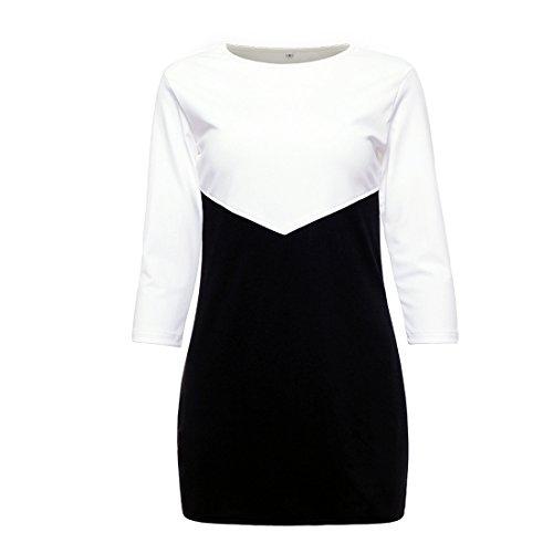 Shinekoo Damen Langarm Beiläufiges Nähen Niedriges Kleid Schwarz