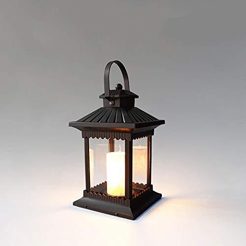 Pumnple Quadratische Außenlandschaftsbeleuchtung Stehlampe Wasserdicht Rostschutz Aluminium Säule Standlicht E14 Veranda Säule Laterne Retro Gartenterrasse Straßenrasen Kerze Tischlampe -