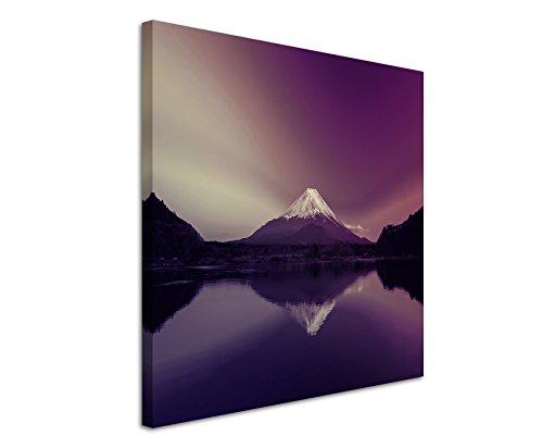 80x 80cm-quadro da parete su tela fotografica in Mauve Alba Berg Fuji Giappone