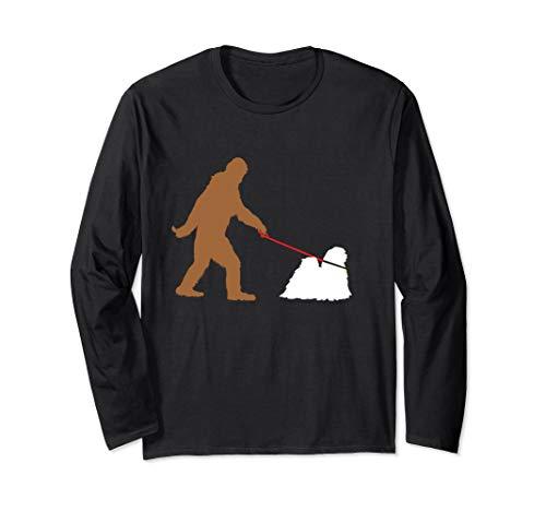 Bigfoot Walking Lhasa Apso Hund Sasquatch Langarmshirt -
