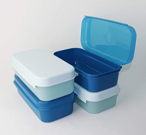 Tupperware Naschkätzchen, Apollo Royal Bellevue 2X 980ml Blau + 2X 980ml Hellblau Brotdose, Vorratsdose, Naschbox + Geschenk Mini Trichter
