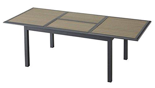 Table extensible en aluminium de couleur taupe - Dim : L.160/240cm x P.100cm x H.75cm - PEGANE -