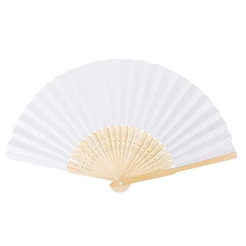 BovoYa 10 Stück DIY Handventilator Weiß Faltbare Fan Papierfächer Hochzeit Zubehör Dekoration für Hochzeiten, Gartenparty