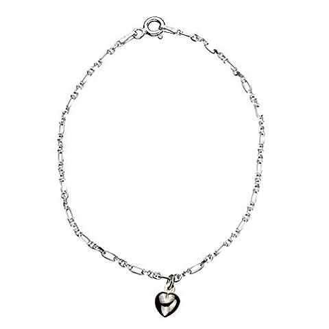 Cœur en argent sterling Bracelet à breloques Italie, 19,1cm