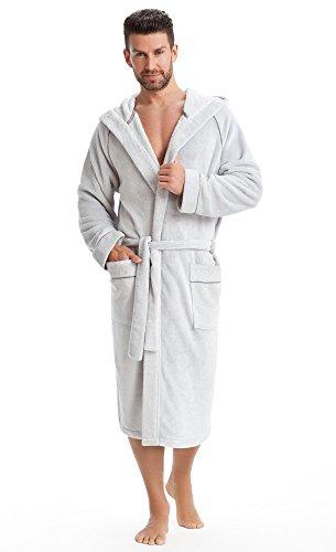 Preisvergleich Produktbild LEVERIE hochwertiger und kuschelweicher Bademantel / Saunamantel für Herren mit Kapuze und praktischen Taschen (4XL,  hellgrau)