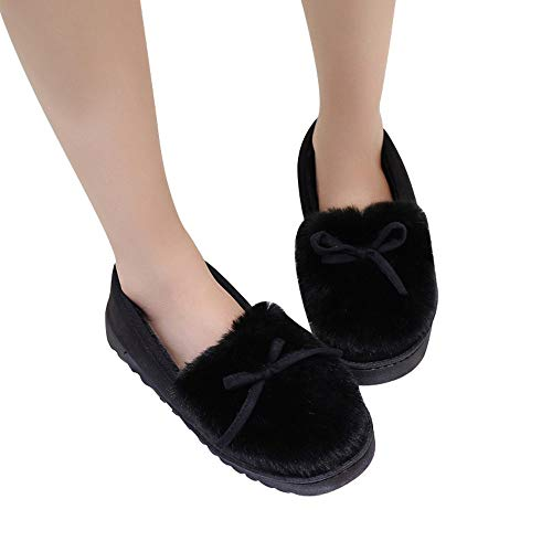 Sonnena Femmes Bottes Chaussures Femme, Casual Mode Bow Low Cut Chaussures Slip Plat Bas Plus Velvet Bottes de Neige