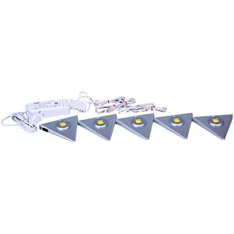 IKM 59342520/G - Juego de LED triangulares (5 piezas, aluminio con interruptor central)