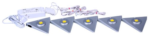 IKM Dreieckleuchten 5-er Set Delta-flach LED Alu (mit Zentralschalter) 59342520/G