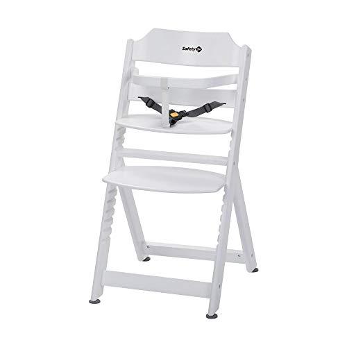 Safety 1st Timba Mitwachsender Hochstuhl, Ohne Tischchen, aus massivem Buchenholz, hohe Rückenlehne, ab ca. 6 Monaten bis ca. 10 Jahre (max. 30 kg), Buchenholz, weiß